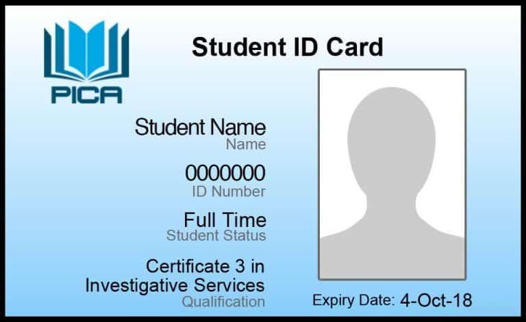 Private Investigators Colllege of Australia, Certificate 3 in Investigative Services CPP30607, Student ID card